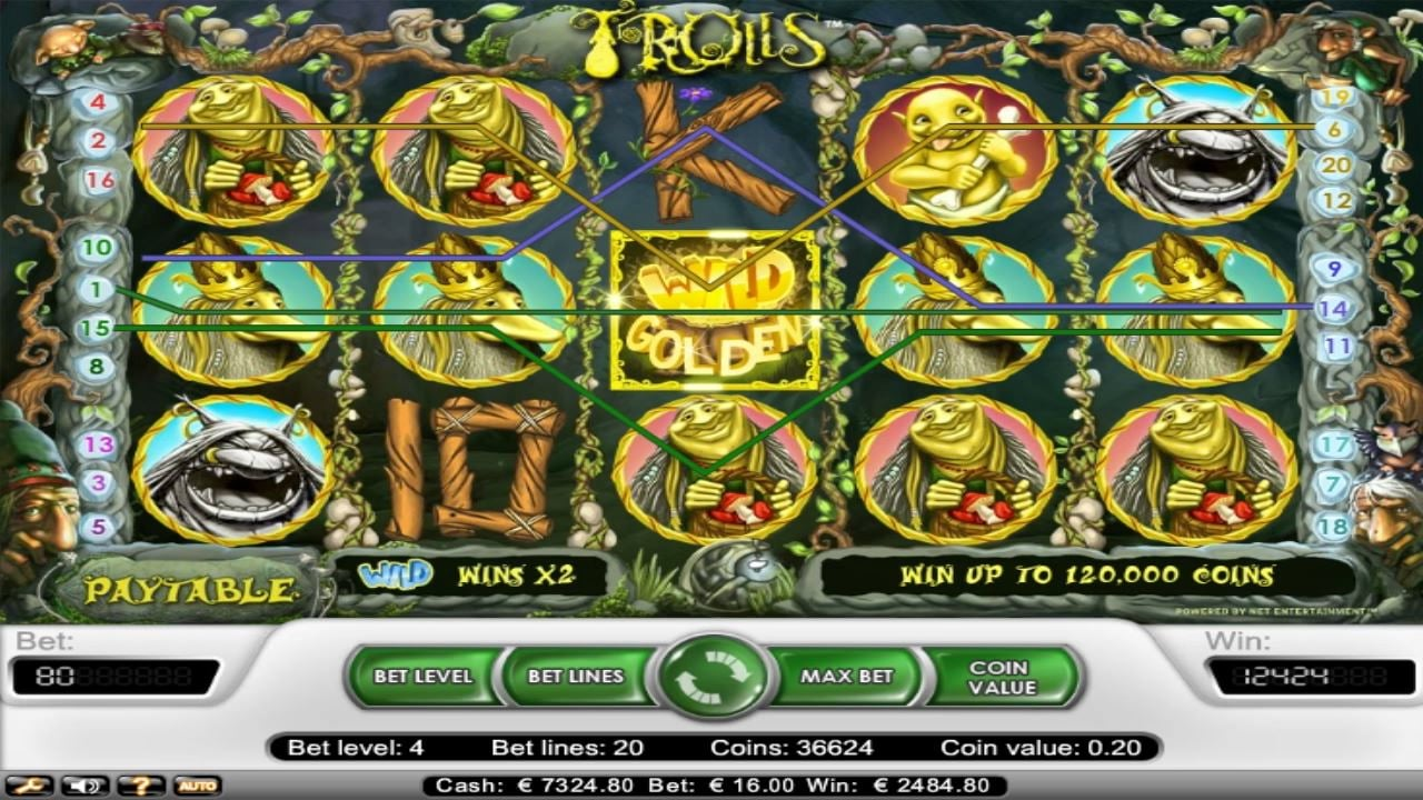 Still frame of an online slots game